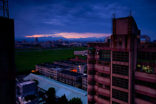 city building colors clouds sunrise dawn taiwan taichung 2011