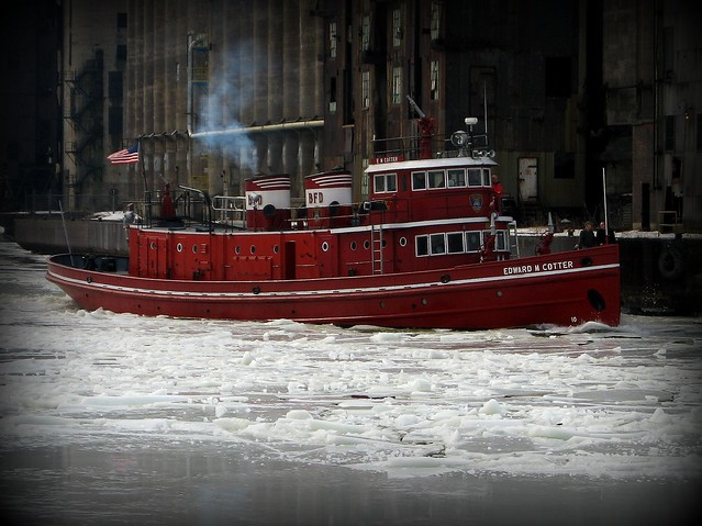Edward M. Cotter  Fireboat in Icey Buffalo River in Buffalo, NY