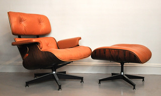 Eames Lounger and Ottoman in tan