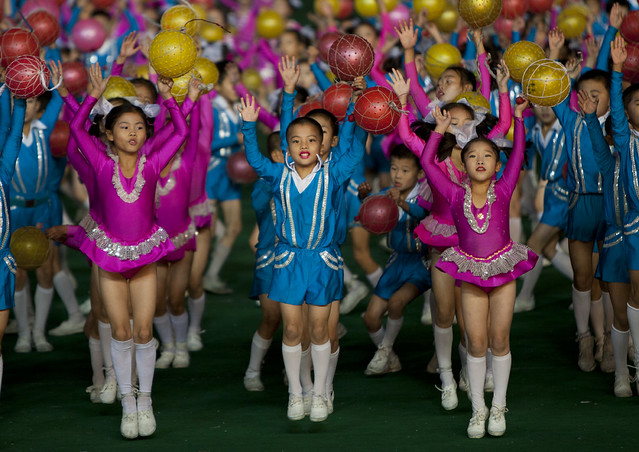 Kids in Arirang Mass Games in May Day stadium Pyongyang- North Korea