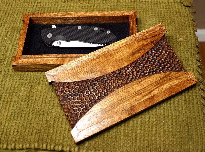Oak knife box interior