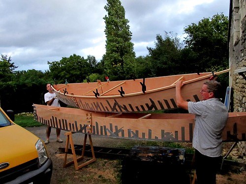 Plywood canoes held together with duct tape are strong enough to move around.  And it saves a huge amount of time over copper wire stitching