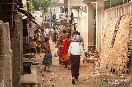 Busy Back Street on Market Day - Bandarban, Bangladesh