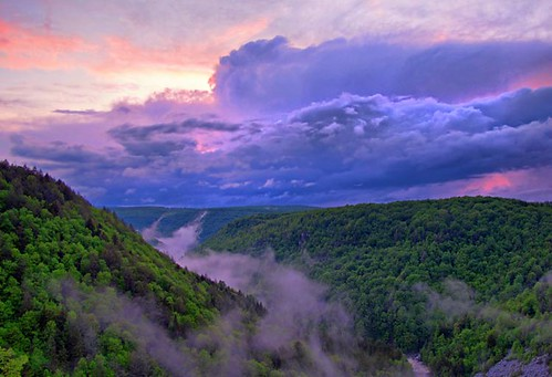 sunset sky misty clouds cloudy scenic canyon wv westvirginia canaanvalley blackwaterfallsstatepark canyonview landscapephotograph