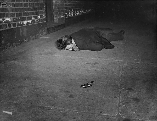 Corpse with Revolver, Hell's Kitchen, New York, 1942, by Weegee