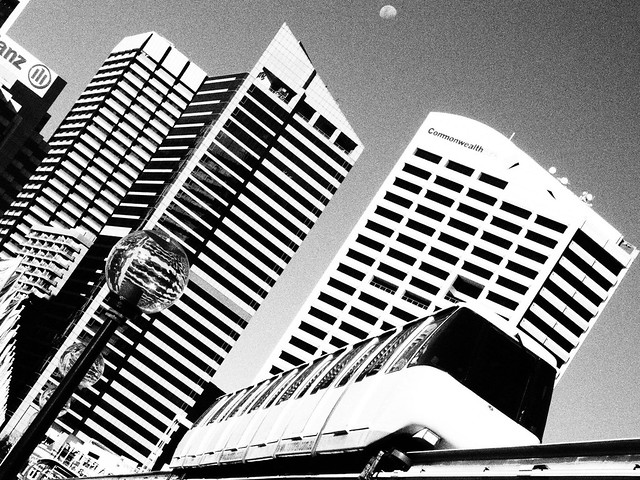 Sydney Monorail - black and white film grain