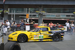 Ron Fellows lights it up in downtown Toronto.