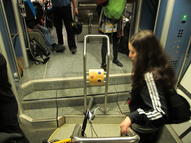 Train with moving floor for disabled access
