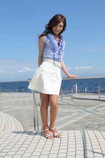 Blue sleeveless top and White skirt_2