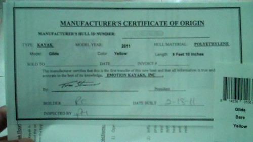 manufacturer's origin of statement