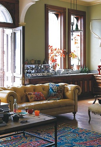 Anthropologie {eclectic bohemian traditional vintage modern living room}