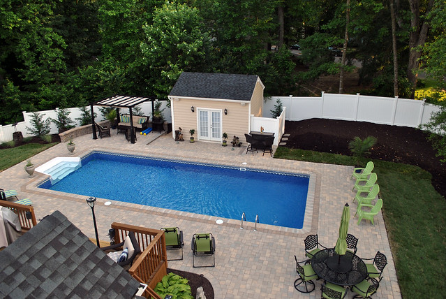 Inground Swimming Pool Rectangle 6in Radius Paver Deck 03