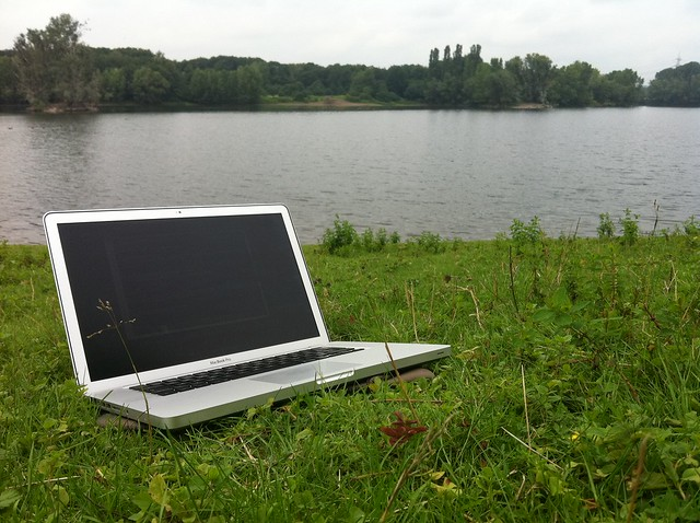Laptop outside by the river by shaza sha, on Flickr