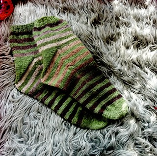 Stripy socks with Fleegle heel