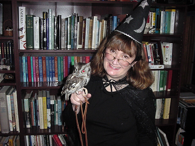 """""""Professor McGonagowl"""" and Archimedes, an Eastern Screech-Owl"""