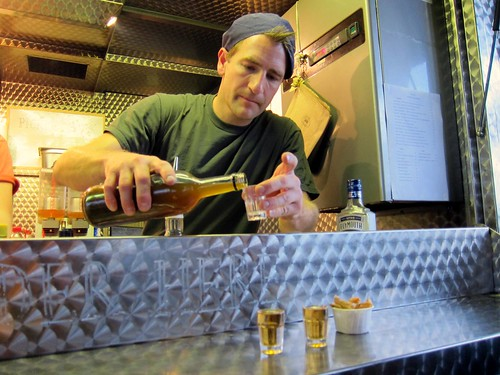 Jamie Berger on Pickleback duty at the trailer