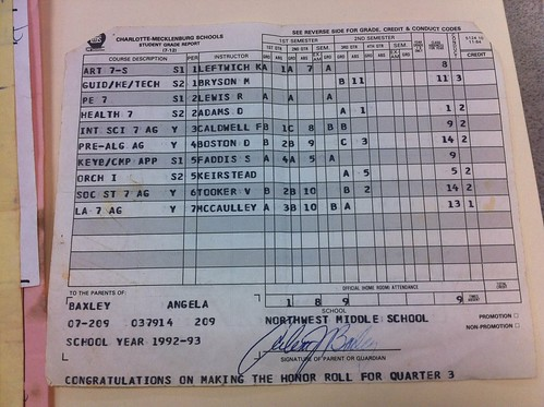 """One of my last """"good"""" report cards."""