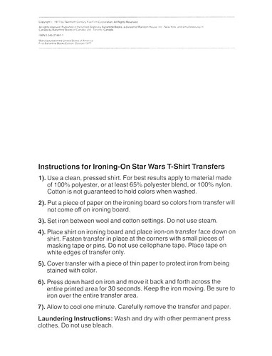 Star Wars Iron-On Transfer Book 002
