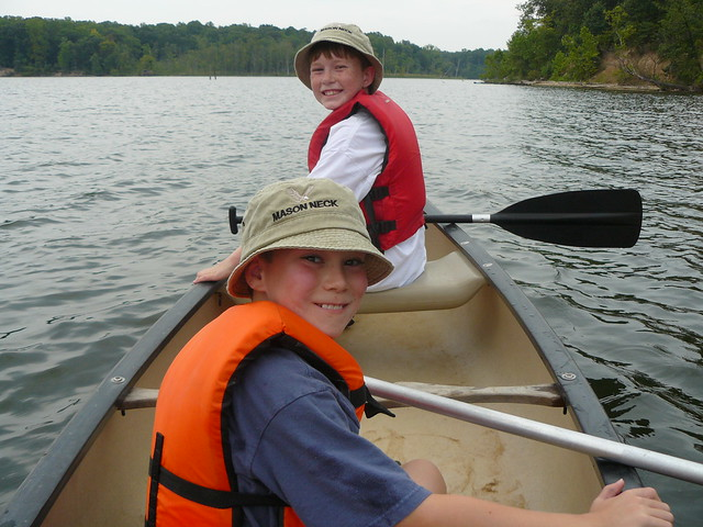 Young visitors enjoy a canoe trip at Mason Neck State Park