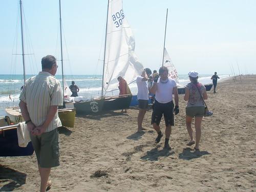 Travessa Alcanar-Calafell 2011. Arrivada per dinar a l'Illa de Buda. 30 de juliol 2011.