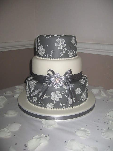 3 Tier Grey With Brush Embroidery Wedding Cake  Flickr