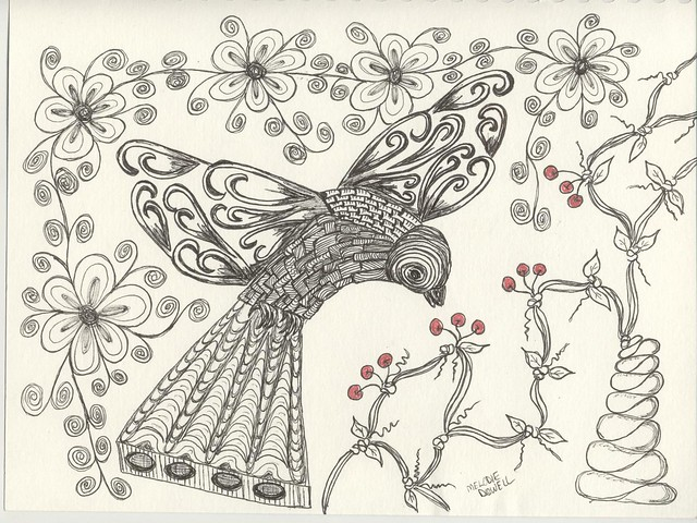 Zentangle, Cherries On The Grape Vine Tree