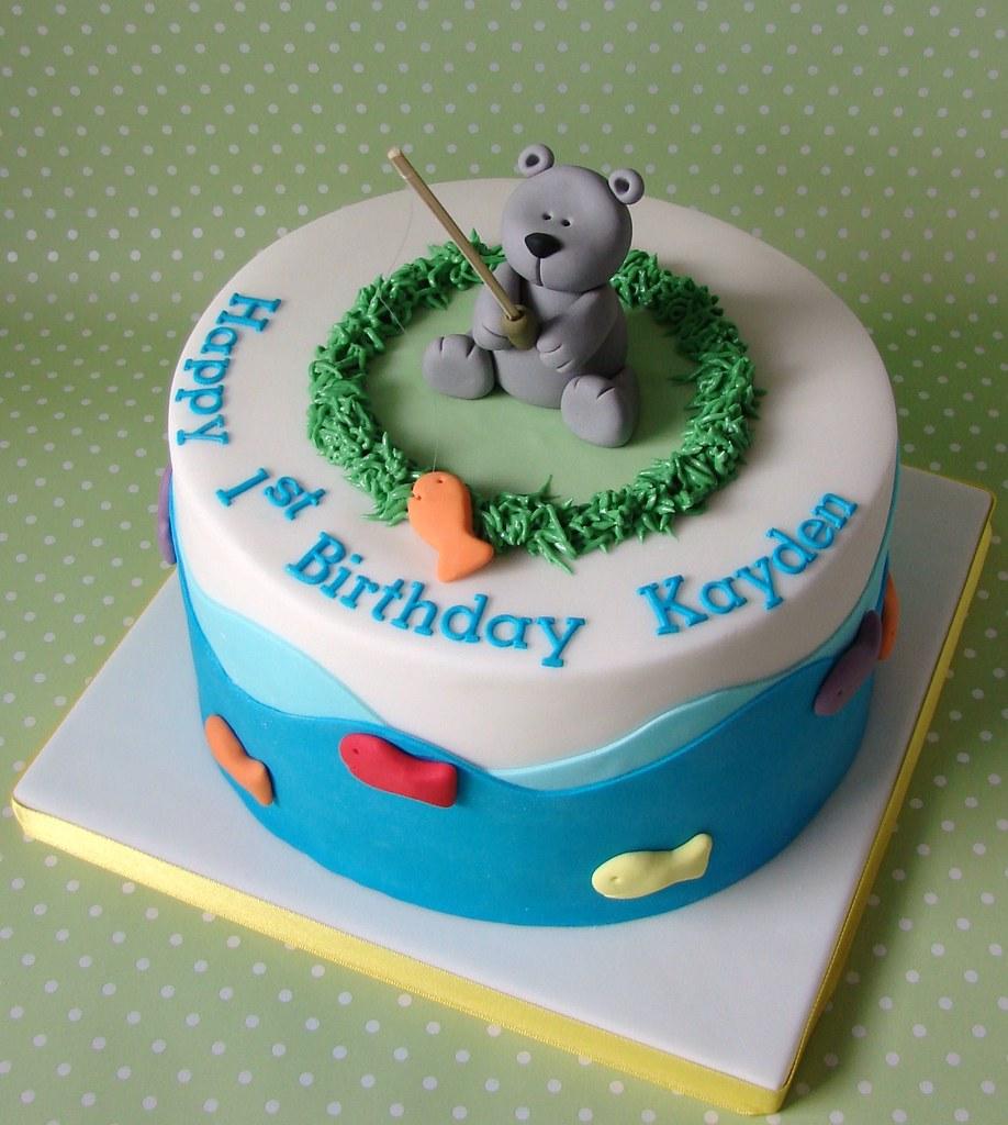 Teddy bear fishing themed birthday cake for kayden a for Fishing themed birthday cakes