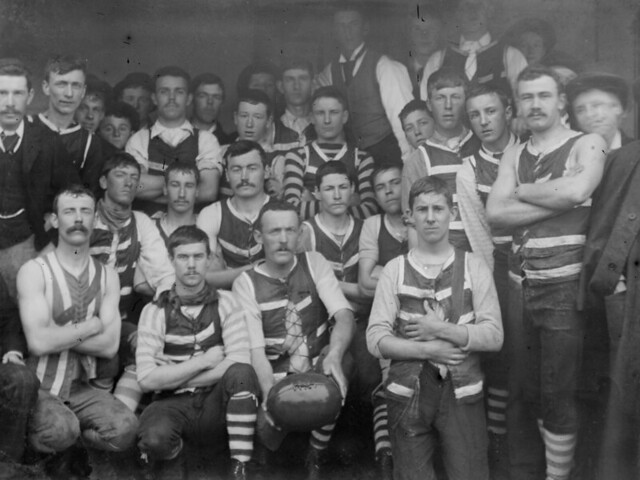 2e90baacee0 Geelong is an Australian Rules Football club. They wore plain hoops for a  long time. As they have added advertisements they've added them to the  corners, ...