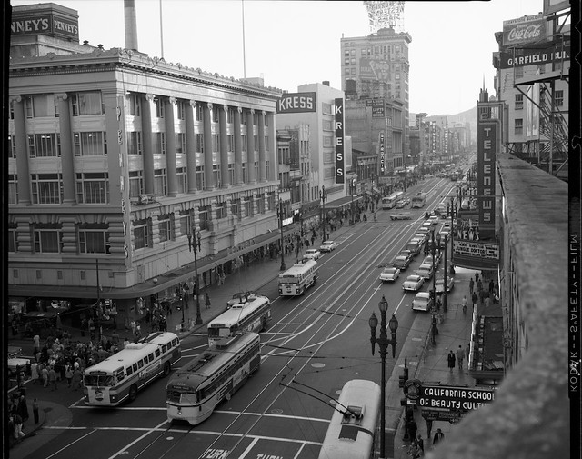 View West on Market at Powell of Traffic, 1958- X4391_1
