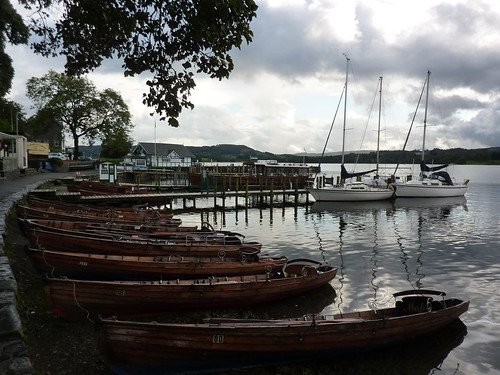 Boats moored at Waterhead on Lake Windermere