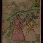 Album of Persian and Indian calligraphy and paintings, A Mughal nobleman with his attendants at a camp, Walters Manuscript W.668, fol.61a