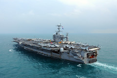 In this file photo, USS George Washington (CVN 73) steams in the Indian Ocean in preparation to take part in combined exercise Talisman Sabre in July 2011. (U.S. Navy photo by Mass Communication Specialist 2rd Class Adam K. Thomas)