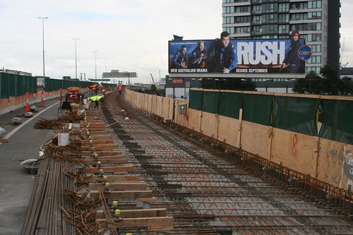 Part of the widening of the West Gate Freeway viaduct