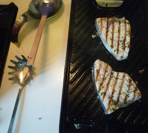 Grilled swordfish, indoors