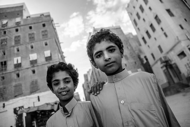 children in the streets of shebam, tribal region of Hadramawt, northeast Yemen