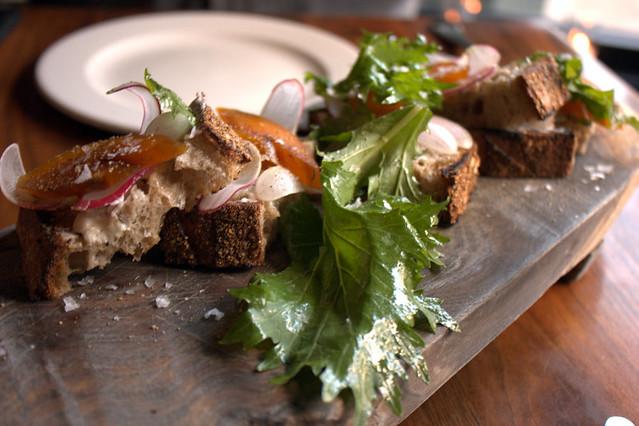 bar tartine bottarga  grilled bread  butter  radish