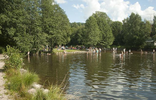 Brekkedammen - populær badeplass ved Akerselva like nedenfor Maridalsvannet i Oslo