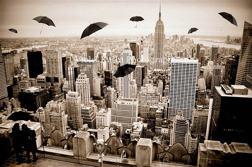 nyc newyorkcity art sepia buildings view skyscrapers manhattan esb empirestatebuilding conceptual umbrellas