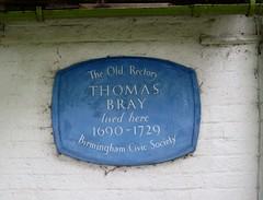 Photo of Thomas Bray blue plaque