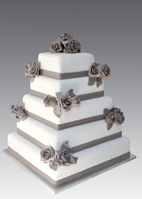 Gray Roses Wedding Cake