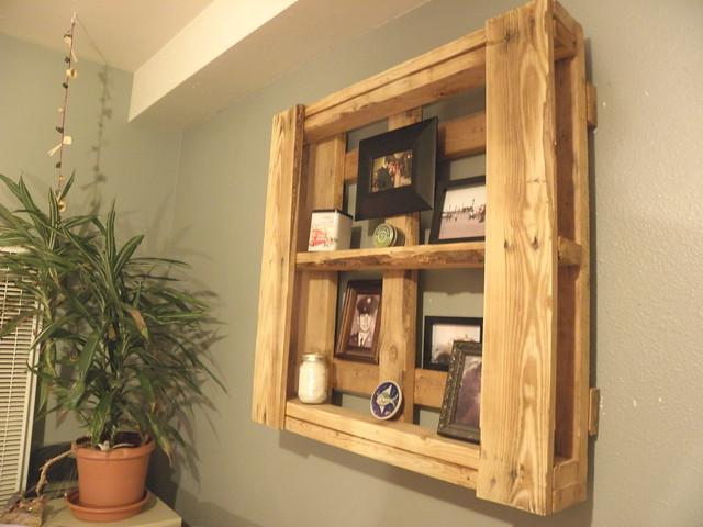 Pallet turned into floating shelves flickr photo sharing for Pallet floating shelves