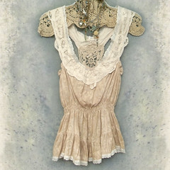 Boho Lace Camisole Top with Shirred Elastic Waistline