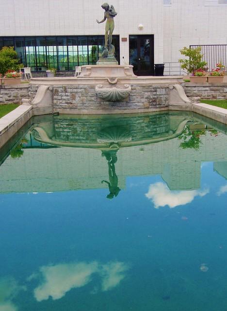Fountain and reflecting pool memorial garden arkell for Garden reflecting pool