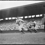 Joe DiMaggio hitting at Fenway