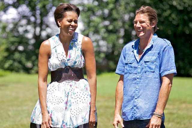 Ty and Mrs. Obama laughing