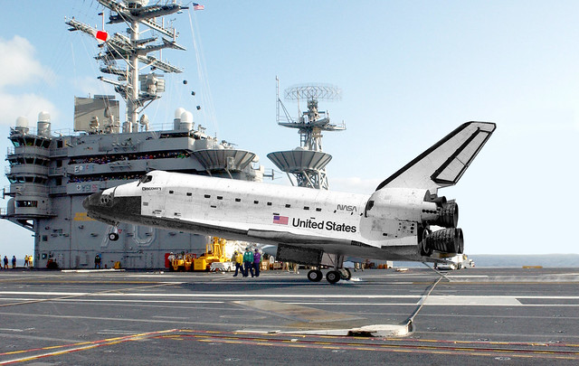 space shuttle landing on aircraft carrier -#main