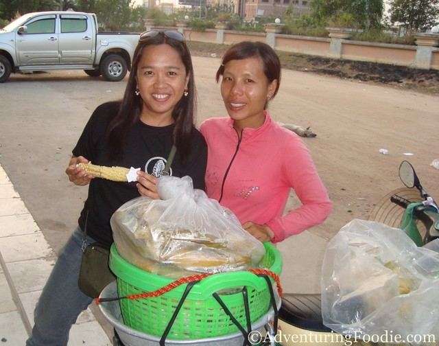 corn seller in cambodia-vietnam