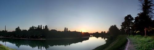blue sunset red sky tree clouds river croatia brigde kupa hrvatska sisak