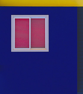Along The Great Highway: window with blue and yellow