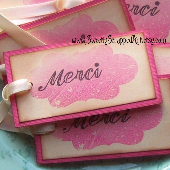 pink shabby merci thank you tags